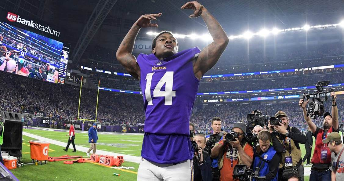 Minnesota Wide Receiver Stefon Diggs after game winning touchdown
