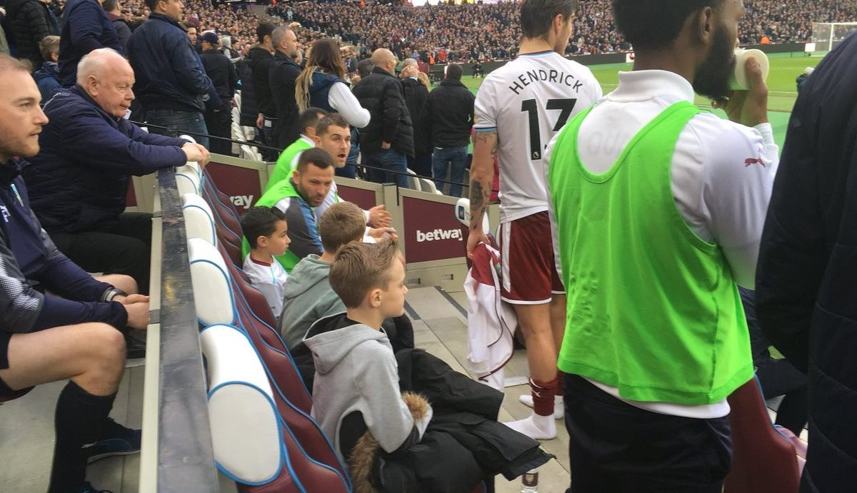 Burnley substitutes let kids onto the bench to escape fighting in stands