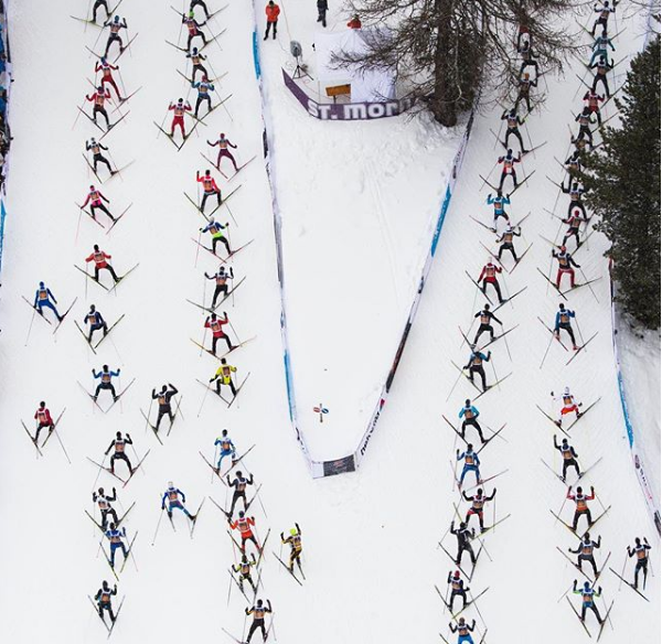 Engadin cross country skiing marathon in Switzerland